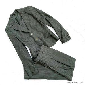 Theory Gray Pinstripe Suit Set